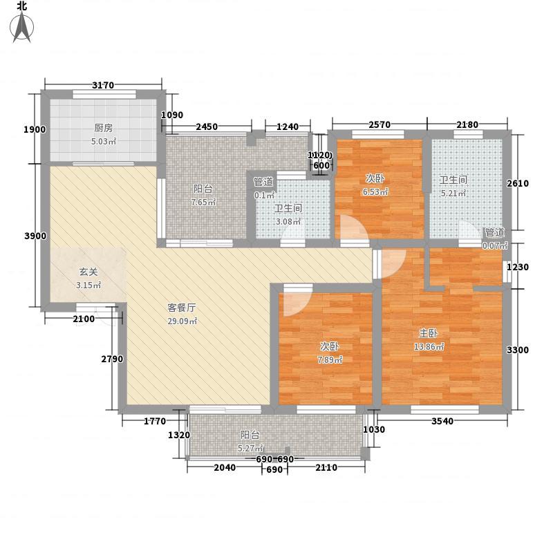 海尚壹品122.00㎡海尚壹品户型图小高层2#F2户型3室2厅2卫1厨户型3室2厅2卫1厨