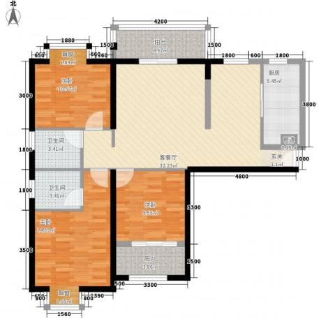 莲花尚院3室1厅2卫1厨125.00㎡户型图