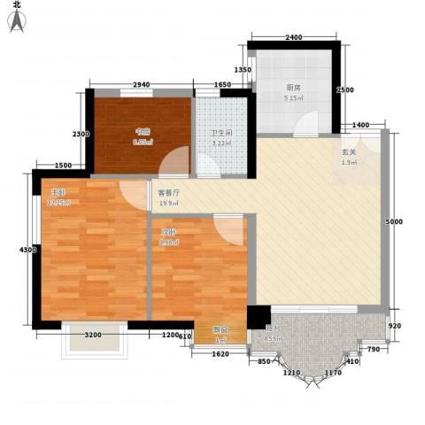 城市杰座3室1厅1卫1厨86.00㎡户型图