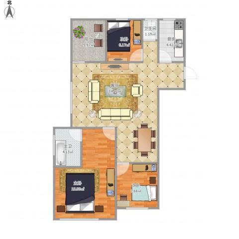 金地上塘道花园7158533室1厅1卫1厨111.00㎡户型图