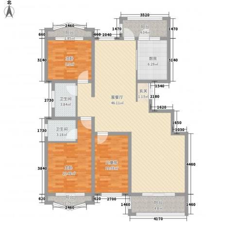 天域学府3室1厅2卫1厨152.00㎡户型图
