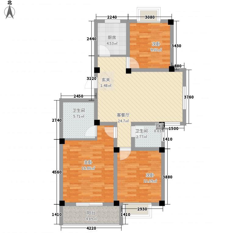 星海湖畔115.30㎡L户型3室2厅2卫1厨
