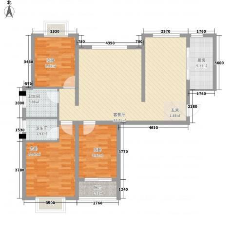 山水名园3室1厅2卫1厨118.00㎡户型图