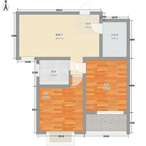 翠园芳邻2室1厅1卫1厨83.00㎡户型图