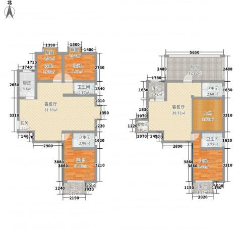泰和家园4室2厅4卫1厨187.00㎡户型图