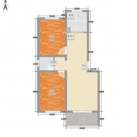 宜丰苑2室1厅1卫1厨94.00㎡户型图