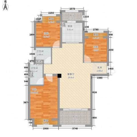 台�国际广场3室1厅2卫1厨117.00㎡户型图