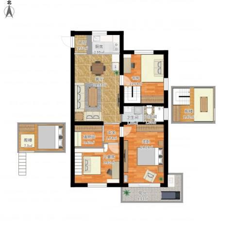 鲁迅园小区3室1厅2卫1厨131.00㎡户型图