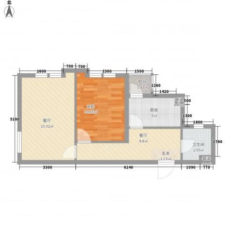 海创谷歌里1室2厅1卫1厨64.00㎡户型图