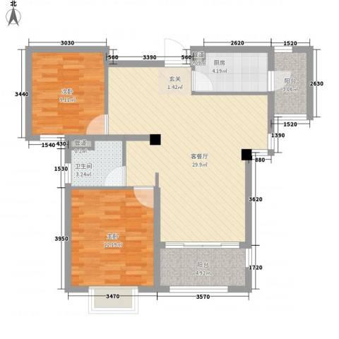 台�国际广场2室1厅1卫1厨96.00㎡户型图