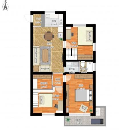 鲁迅园小区3室1厅2卫1厨110.00㎡户型图