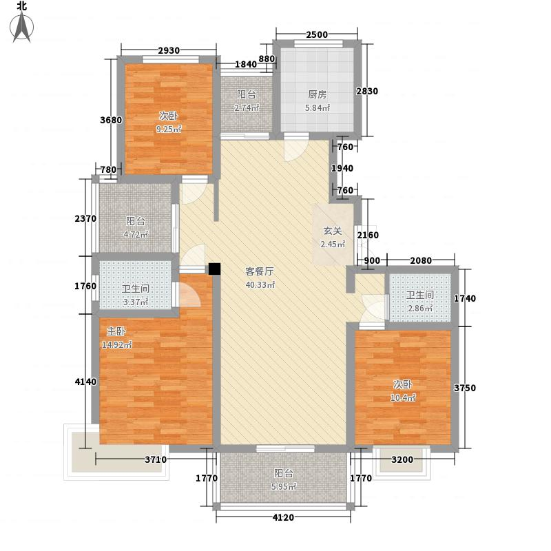 杏坛世家145.00㎡2号楼标准层D2户型3室2厅2卫1厨