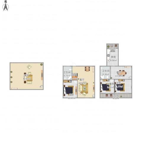 宝地・东晟花园3室3厅2卫1厨202.00㎡户型图