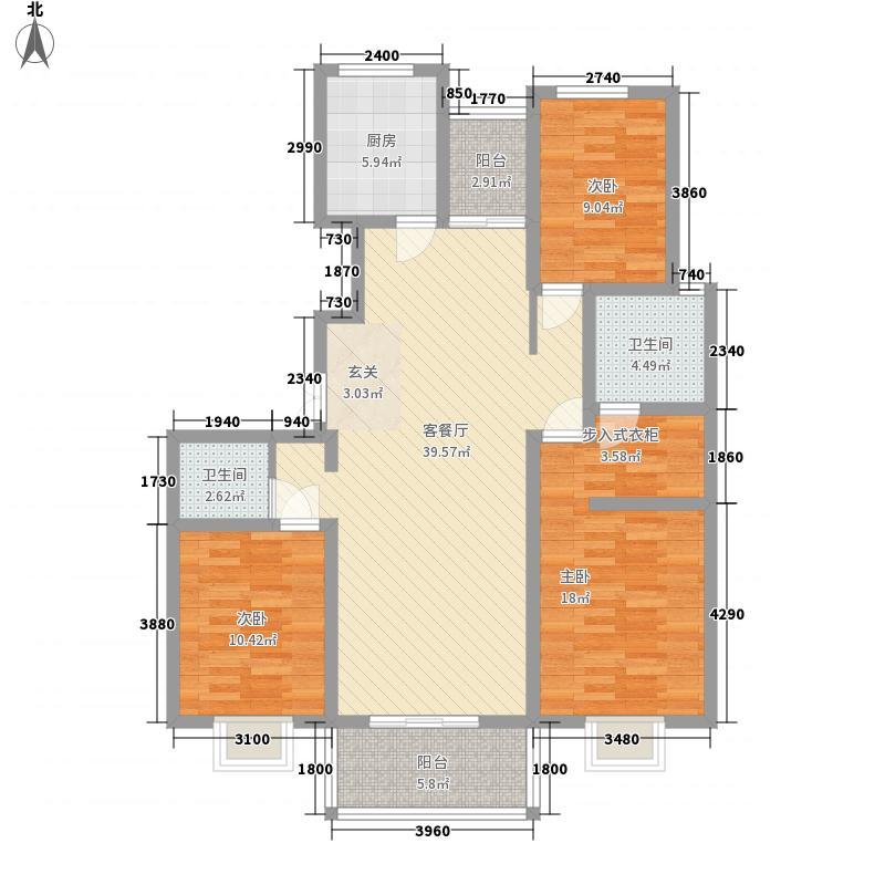 杏坛世家143.00㎡2号楼标准层D1户型3室2厅2卫1厨