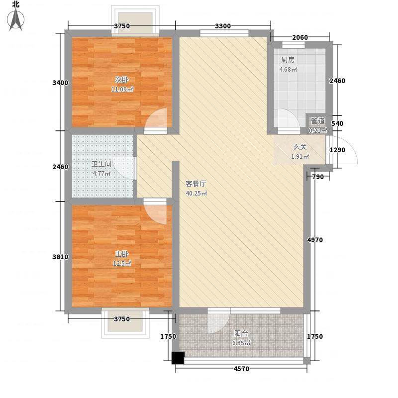 朝阳无限114.00㎡标准层F户型2室2厅1卫1厨