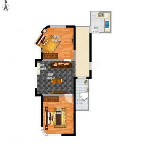 文景清华园2室1厅1卫1厨71.00㎡户型图