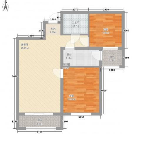 中宏美丽园二期2室1厅1卫1厨86.00㎡户型图