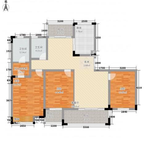 金色庭园3室1厅2卫1厨117.55㎡户型图