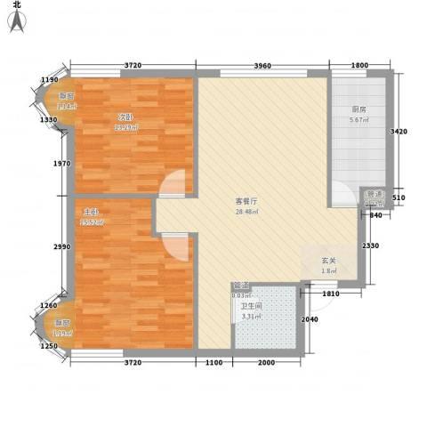 渤海明珠2室1厅1卫1厨86.00㎡户型图