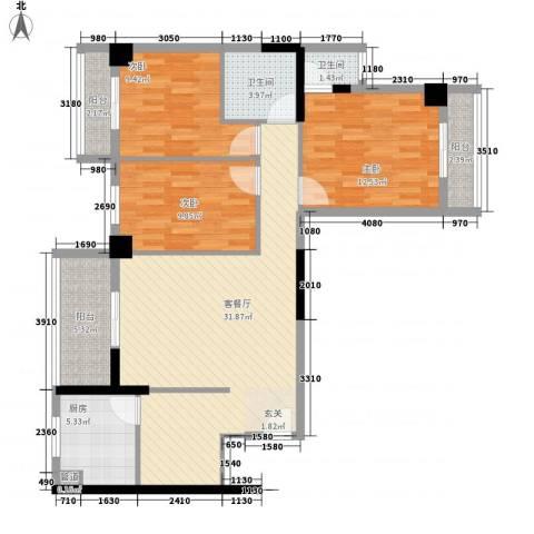会都苑3室1厅2卫1厨122.00㎡户型图