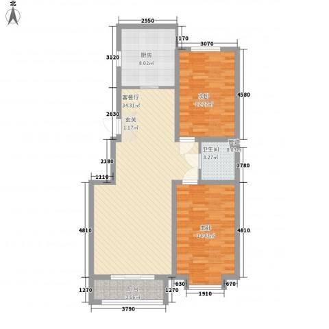 融和尊邸2室1厅1卫1厨114.00㎡户型图