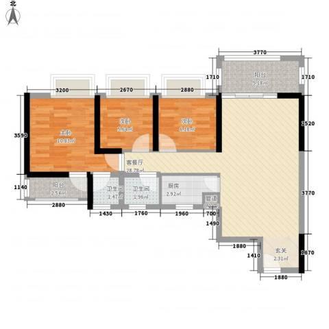 新园华府3室1厅2卫1厨65.74㎡户型图