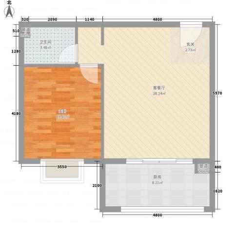 渤海明珠1室1厅1卫1厨73.00㎡户型图