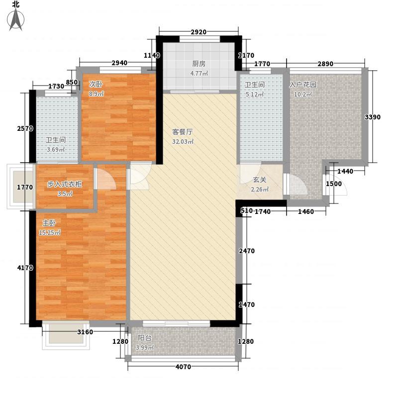 凯旋名门123.86㎡A户型3室2厅2卫1厨