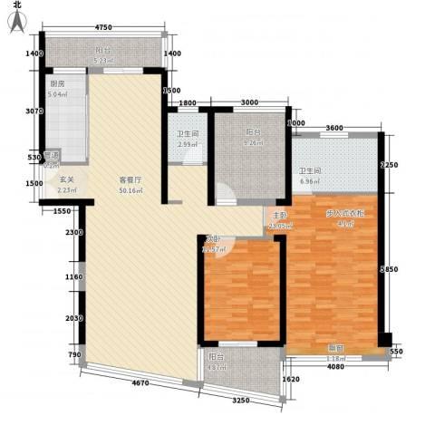 莲花尚院2室1厅2卫1厨169.00㎡户型图