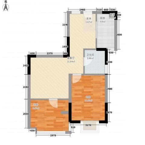 众兴华庭2室1厅1卫1厨72.00㎡户型图