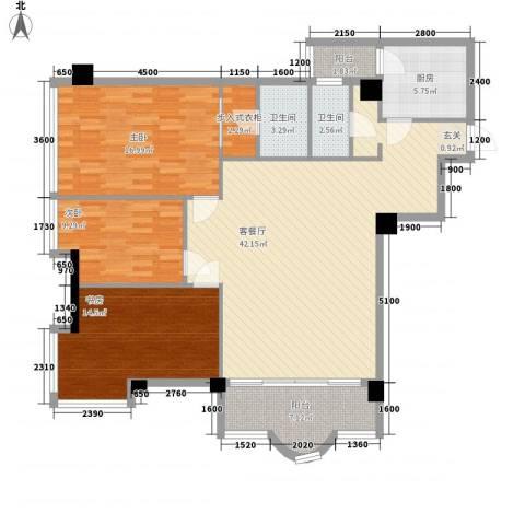 平常人家3室1厅2卫1厨118.41㎡户型图