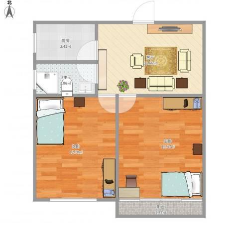 潍坊九村50--2112室1厅1卫1厨62.00㎡户型图
