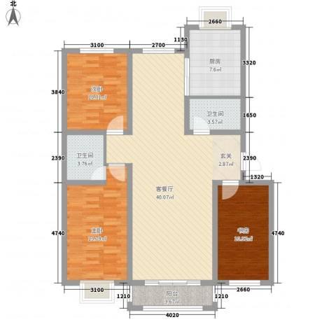 鑫大成・御龙湾3室1厅2卫1厨125.00㎡户型图