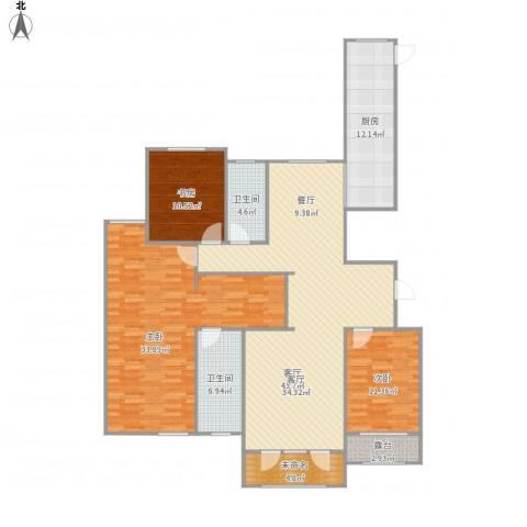 高新城市广场3室1厅2卫1厨175.00㎡户型图