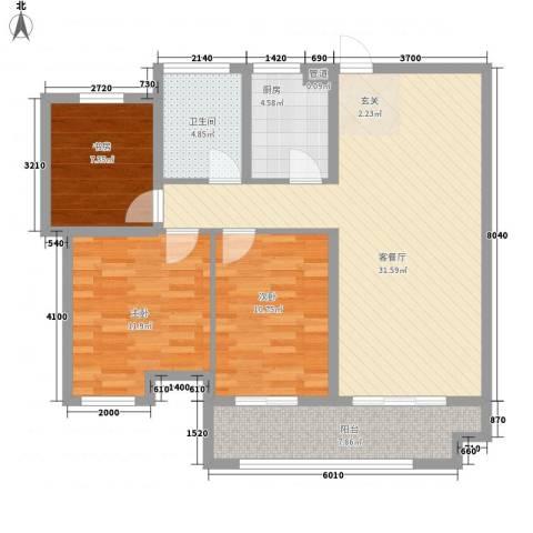 联合世纪新筑3室1厅1卫1厨112.00㎡户型图