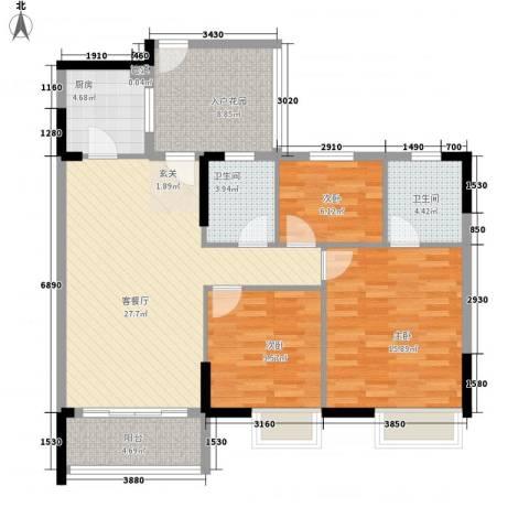 丽港城3室1厅2卫1厨124.00㎡户型图