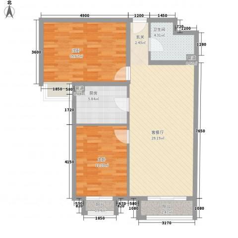 羽绒新村2室1厅1卫1厨100.00㎡户型图