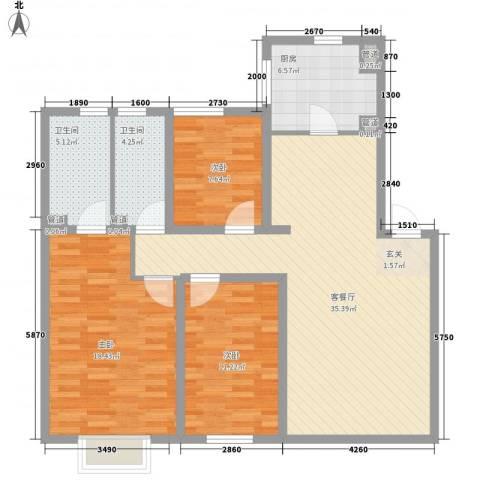 丽港城3室1厅2卫1厨127.00㎡户型图
