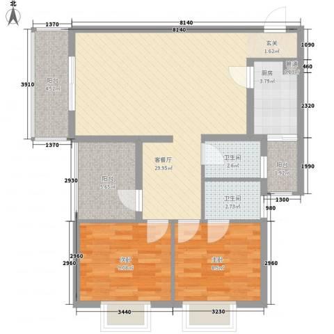 南湾江上2室1厅2卫1厨78.00㎡户型图