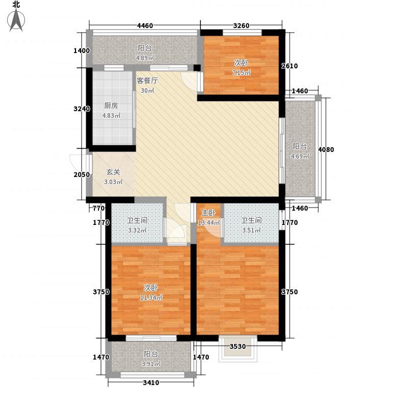 诚德盛世原著127.00㎡高层C1户型3室2厅2卫1厨