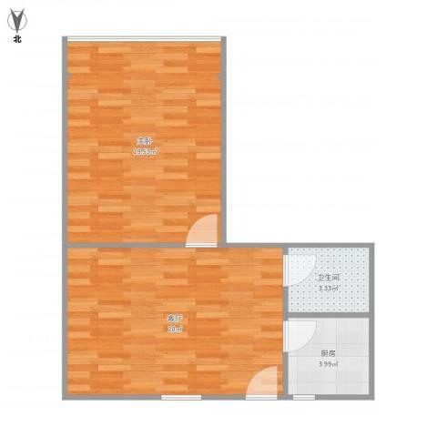 流水东苑27-1-2021室1厅1卫1厨62.00㎡户型图