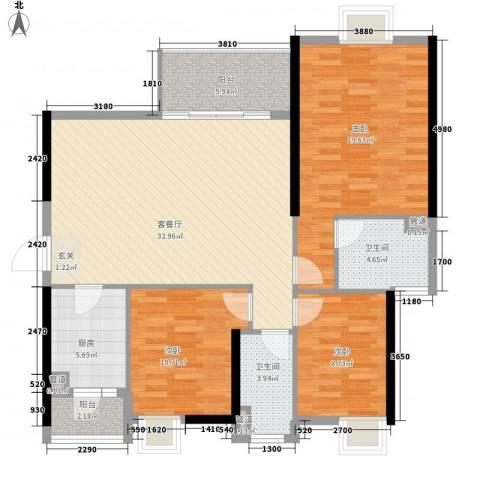 万科运河东1号银华院3室1厅2卫1厨123.00㎡户型图
