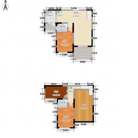 久和国际新城3室1厅2卫1厨133.00㎡户型图