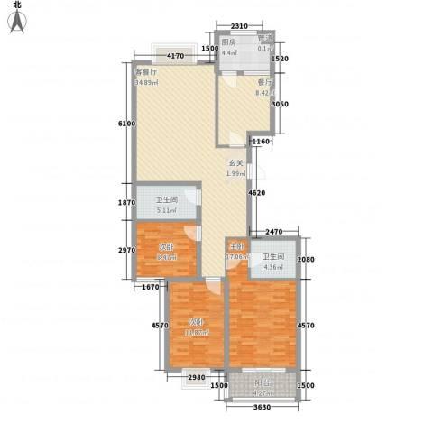 郦苑国际花园二期3室2厅2卫1厨142.00㎡户型图