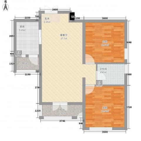 御�豪庭2室1厅1卫1厨95.00㎡户型图
