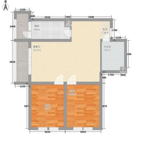 中宏美丽园二期2室1厅1卫1厨89.00㎡户型图