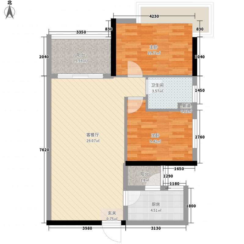 万科运河东1号银华院87.00㎡户型2室