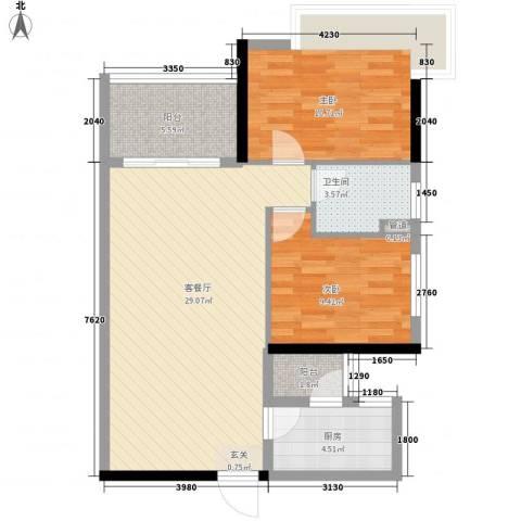 万科运河东1号银华院2室1厅1卫1厨87.00㎡户型图