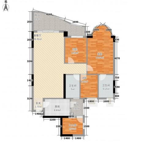逸景翠园映月居3室1厅2卫1厨127.00㎡户型图