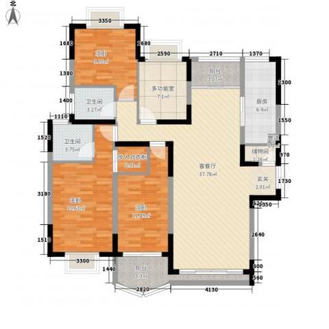 万科运河东1号银华院3室1厅2卫1厨155.00㎡户型图